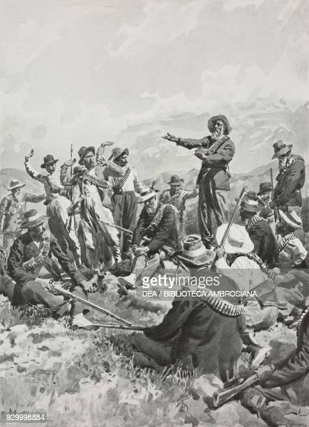 Boer leaders meeting in Orange for peace negotiations South Africa the Second Boer War drawing by Edoardo Matania from L'illustrazione Italiana Year...