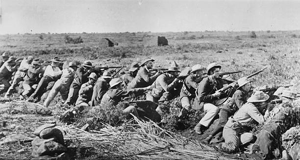 Boer soldiers manning their trenches outside Mafeking...