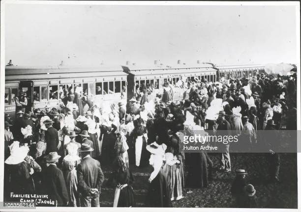 Boer War Boer families leaving concentration camp 1901