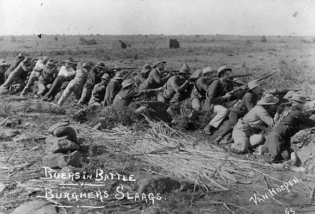 Boers manning a trench outside Mafeking during the...