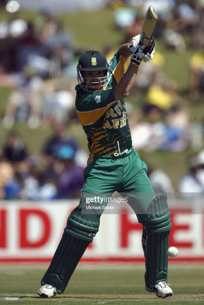 Boeta Dippenaar of South Africa hits out during the ICC Cricket World Cup Pool B match between South Africa and Canada held on February 27, 2003 at Buffalo Park in East London, South Africa. South Africa won the match by 118 runs.