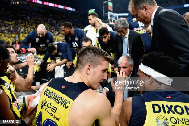 Bogdan Bogdanovic #13 of Fenerbahce Istanbu and Bobby Dixon #35 of Fenerbahce Istanbull talks during a timeout during the Championship Game 2017...
