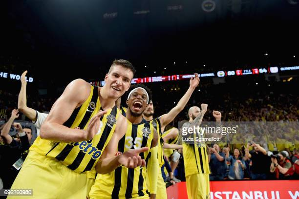 Bogdan Bogdanovic #13 of Fenerbahce Istanbul iand Bobby Dixon #35 of Fenerbahce Istanbul celebrates just before the end of Championship Game 2017...
