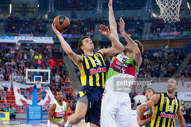 Bogdan Bogdanovic #13 of Fenerbahce Ulker Istanbul in action during the Turkish Airlines Euroleague Basketball Top 16 Date 13 game between Laboral...