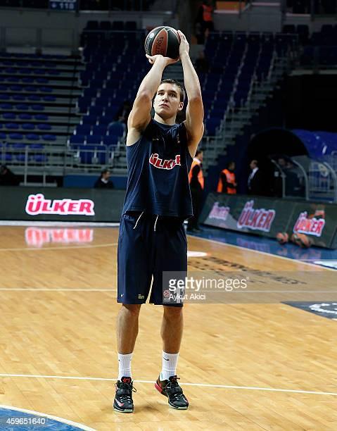 Bogdan Bogdanovic #13 of Fenerbahce Ulker Istanbul warmsup prior to the 20142015 Turkish Airlines Euroleague Basketball Regular Season Date 7 game...