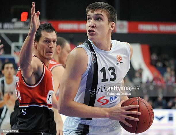Bogdan Bogdanovic #13 of Partizan mts Belgrade in action during the 20122013 Turkish Airlines Euroleague Regular Season Game Day 3 between Lietuvos...