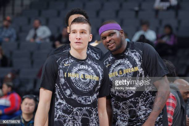 Bogdan Bogdanovic and Zach Randolph of the Sacramento Kings talk prior to the game against the Los Angeles Clippers on January 11 2018 at Golden 1...