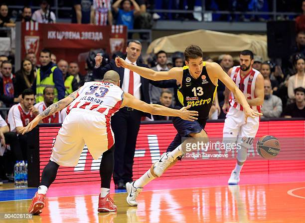 Bogdan Bogdanovic of Fenerbahce Istanbul in action against Maik Zirbes of Crvena Zvezda Belgrade during the Turkish Airlines Euroleague Basketball...
