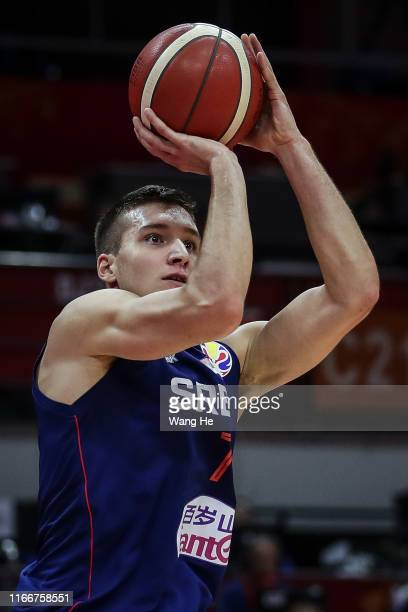 Bogdan Bogdanovic of Serbia shoots against Spain during FIBA Basketball World Cup China 2019 at Wuhan Sports Center on September 08 2019 in Wuhan...