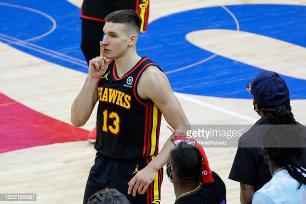 Bogdan Bogdanovic of the Atlanta Hawks gestures during the fourth quarter against the Philadelphia 76ers during Game One of the Eastern Conference...