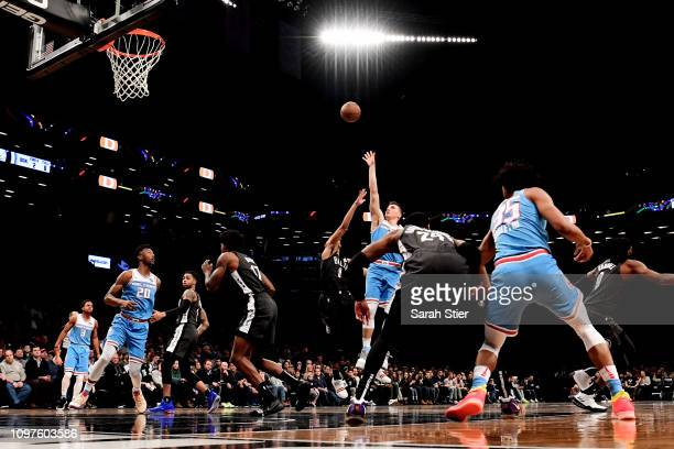 Bogdan Bogdanovic of the Sacramento Kings attempts a basket during the second quarter of the game against the Brooklyn Nets at Barclays Center on...