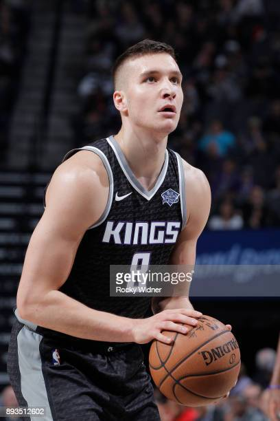 Bogdan Bogdanovic of the Sacramento Kings attempts a freethrow shot against the Toronto Raptors on December 10 2017 at Golden 1 Center in Sacramento...