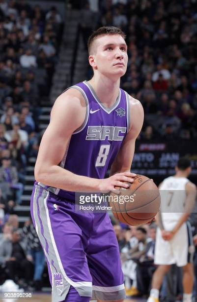 Bogdan Bogdanovic of the Sacramento Kings attempts a freethrow shot against the Denver Nuggets on January 6 2018 at Golden 1 Center in Sacramento...