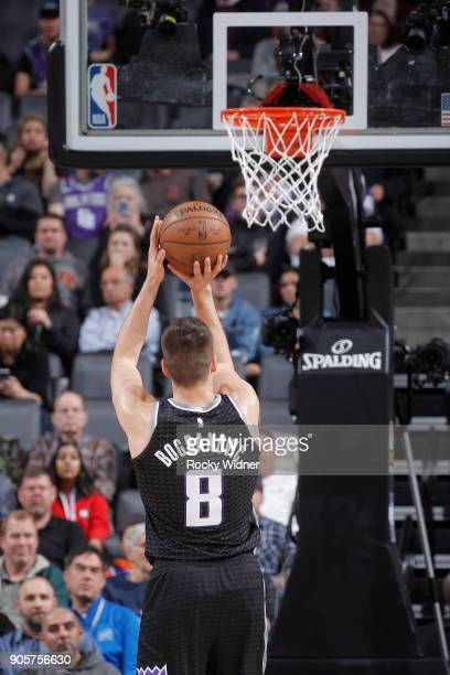 Bogdan Bogdanovic of the Sacramento Kings attempts a freethrow shot against the Los Angeles Clippers on January 11 2018 at Golden 1 Center in...