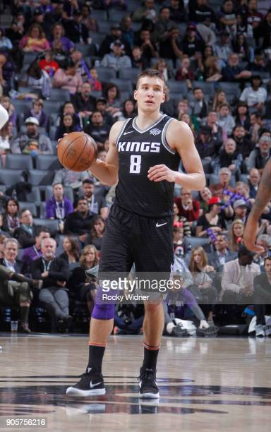 Bogdan Bogdanovic of the Sacramento Kings brings the ball up the court against the Los Angeles Clippers on January 11 2018 at Golden 1 Center in...