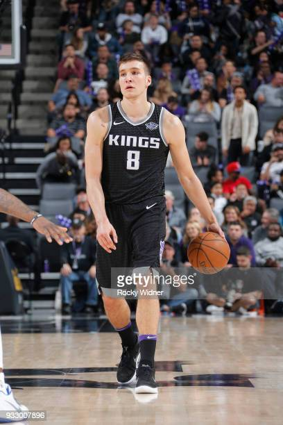 Bogdan Bogdanovic of the Sacramento Kings brings the ball up the court against the Orlando Magic on March 9 2018 at Golden 1 Center in Sacramento...