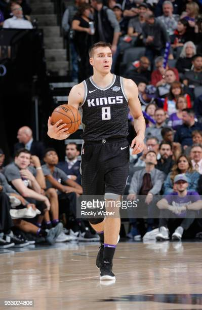 Bogdan Bogdanovic of the Sacramento Kings brings the ball up the court against the New Orleans Pelicans on March 7 2018 at Golden 1 Center in...