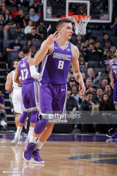 Bogdan Bogdanovic of the Sacramento Kings celebrates during the game against the San Antonio Spurs on January 8 2018 at Golden 1 Center in Sacramento...