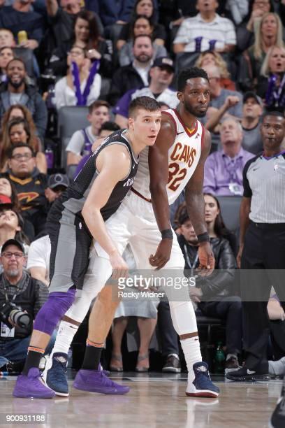 Bogdan Bogdanovic of the Sacramento Kings defends Jeff Green of the Cleveland Cavaliers on December 27 2017 at Golden 1 Center in Sacramento...