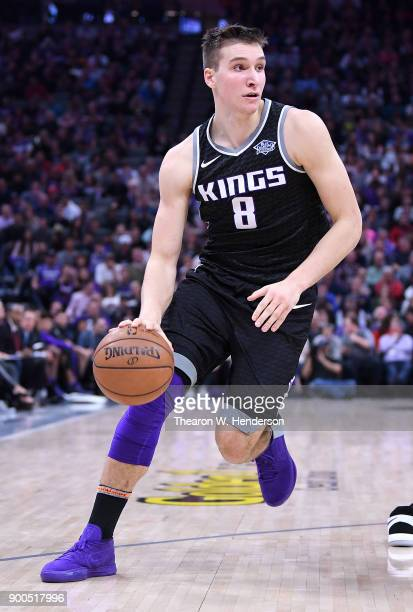Bogdan Bogdanovic of the Sacramento Kings dribbles the ball against the Cleveland Cavaliers during their NBA basketball game at Golden 1 Center on...
