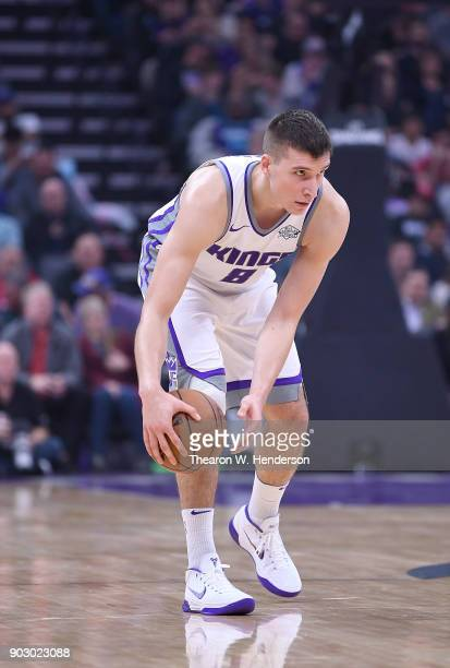 Bogdan Bogdanovic of the Sacramento Kings dribbles the ball against the Charlotte Hornets during an NBA basketball game at Golden 1 Center on January...