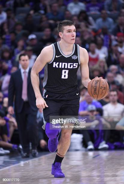 Bogdan Bogdanovic of the Sacramento Kings dribbles the ball up court against the Cleveland Cavaliers during their NBA basketball game at Golden 1...