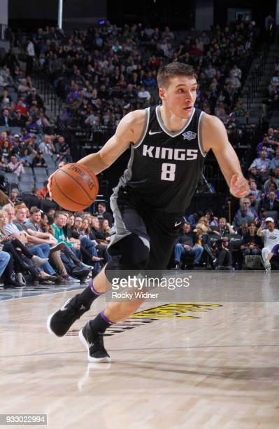 Bogdan Bogdanovic of the Sacramento Kings drives against the New Orleans Pelicans on March 7 2018 at Golden 1 Center in Sacramento California NOTE TO...