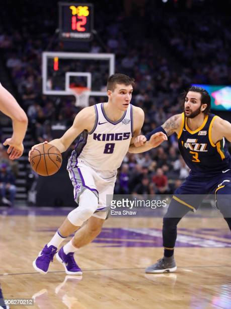 Bogdan Bogdanovic of the Sacramento Kings drives on Ricky Rubio of the Utah Jazz at Golden 1 Center on January 17 2018 in Sacramento California NOTE...
