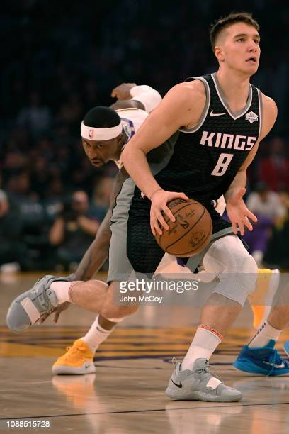 Bogdan Bogdanovic of the Sacramento Kings drives the lane against the Los Angeles Lakers at Staples Center on December 30 2018 in Los Angeles...