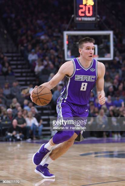Bogdan Bogdanovic of the Sacramento Kings drives towards the basket against the Denver Nuggets during an NBA Basketball game at Golden 1 Center on...
