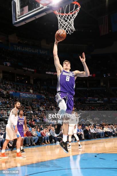 Bogdan Bogdanovic of the Sacramento Kings goes to the basket against the Oklahoma City Thunder on January 15 2018 at Chesapeake Energy Arena in...