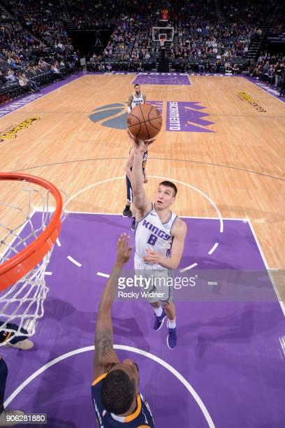 Bogdan Bogdanovic of the Sacramento Kings goes to the basket against the Utah Jazz on January 17 2018 at Golden 1 Center in Sacramento California...
