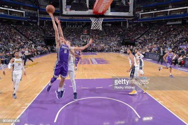 Bogdan Bogdanovic of the Sacramento Kings goes up for the shot against the Denver Nuggets on January 6 2018 at Golden 1 Center in Sacramento...