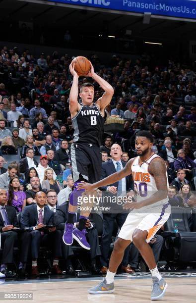 Bogdan Bogdanovic of the Sacramento Kings goes up with the ball against the Phoenix Suns on December 12 2017 at Golden 1 Center in Sacramento...
