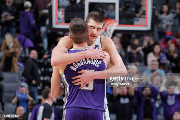 Bogdan Bogdanovic of the Sacramento Kings greets Nikola Jokic of the Denver Nuggets after the game on January 6 2018 at Golden 1 Center in Sacramento...