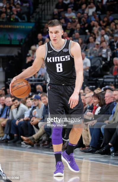 Bogdan Bogdanovic of the Sacramento Kings handles the ball against the Phoenix Suns on December 12 2017 at Golden 1 Center in Sacramento California...