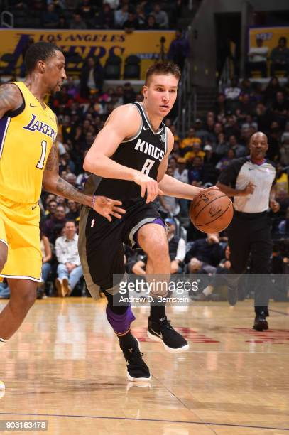 Bogdan Bogdanovic of the Sacramento Kings handles the ball against the Los Angeles Lakers on January 9 2018 at STAPLES Center in Los Angeles...