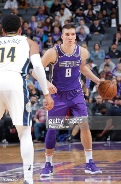 Bogdan Bogdanovic of the Sacramento Kings handles the ball against the Denver Nuggets on January 6 2018 at Golden 1 Center in Sacramento California...