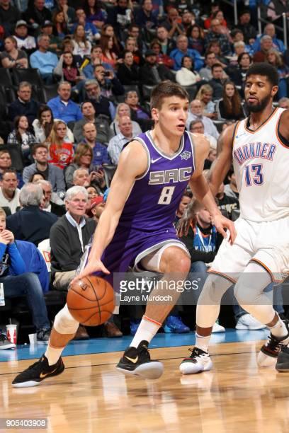 Bogdan Bogdanovic of the Sacramento Kings handles the ball against the Oklahoma City Thunder on January 15 2018 at Chesapeake Energy Arena in...