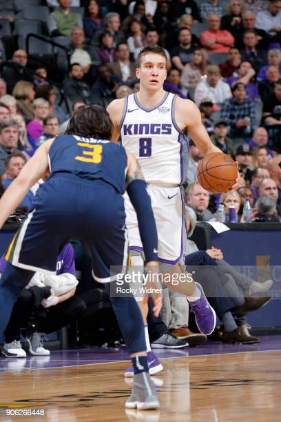 Bogdan Bogdanovic of the Sacramento Kings handles the ball against the Utah Jazz on January 17 2018 at Golden 1 Center in Sacramento California NOTE...