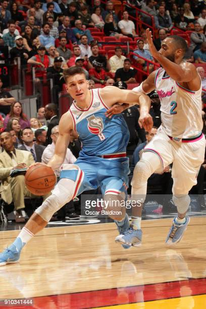 Bogdan Bogdanovic of the Sacramento Kings handles the ball against the Miami Heat on January 25 2018 at American Airlines Arena in Miami Florida NOTE...