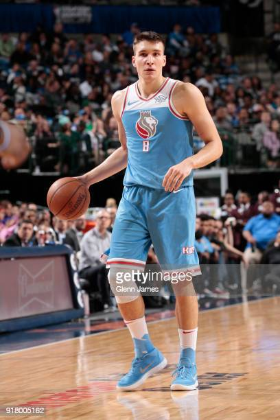 Bogdan Bogdanovic of the Sacramento Kings handles the ball against the Dallas Mavericks on February 13 2018 at the American Airlines Center in Dallas...