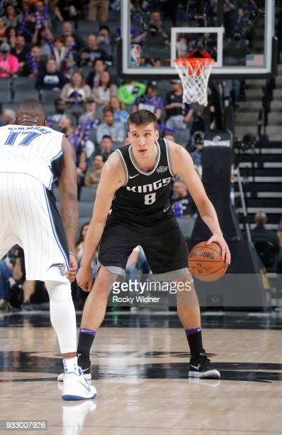 Bogdan Bogdanovic of the Sacramento Kings handles the ball against the Orlando Magic on March 9 2018 at Golden 1 Center in Sacramento California NOTE...