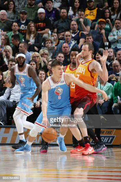 Bogdan Bogdanovic of the Sacramento Kings handles the ball against the Utah Jazz on March 17 2018 at vivintSmartHome Arena in Salt Lake City Utah...