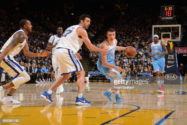 Bogdan Bogdanovic of the Sacramento Kings handles the ball during the game against the Golden State Warriors on March 16 2018 at ORACLE Arena in...