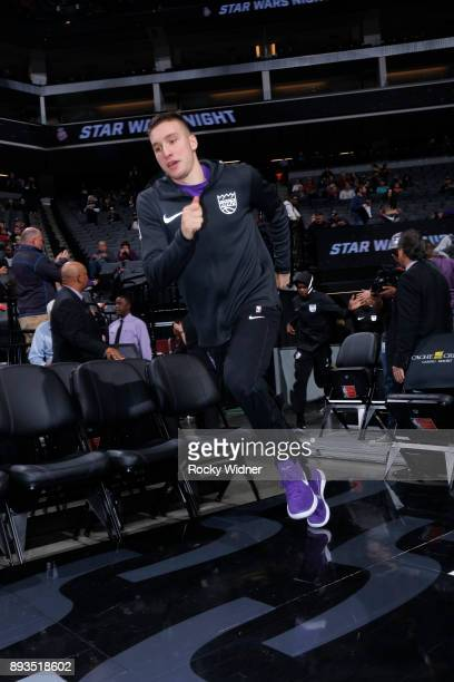 Bogdan Bogdanovic of the Sacramento Kings heads onto the floor prior to the game against the Phoenix Suns on December 12 2017 at Golden 1 Center in...