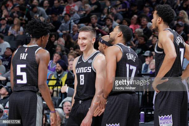Bogdan Bogdanovic of the Sacramento Kings looks on during the game against the Toronto Raptors on December 10 2017 at Golden 1 Center in Sacramento...