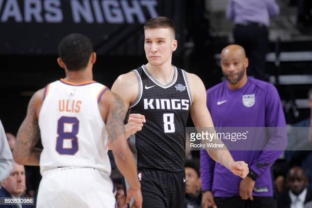 Bogdan Bogdanovic of the Sacramento Kings looks on during the game against the Phoenix Suns on December 12 2017 at Golden 1 Center in Sacramento...
