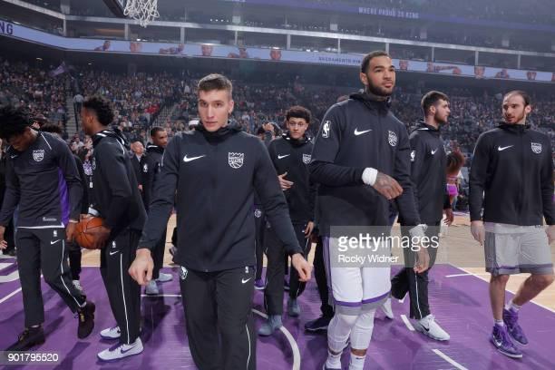 Bogdan Bogdanovic of the Sacramento Kings looks on during the game against the Charlotte Hornets on January 2 2018 at Golden 1 Center in Sacramento...
