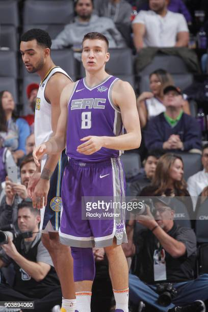 Bogdan Bogdanovic of the Sacramento Kings looks on during the game against the Denver Nuggets on January 6 2018 at Golden 1 Center in Sacramento...